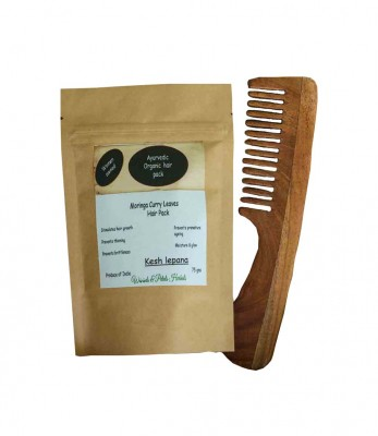 Wood And Patels Handmade Moringa Curry Leaf Hair Pack And Neem Wood Comb