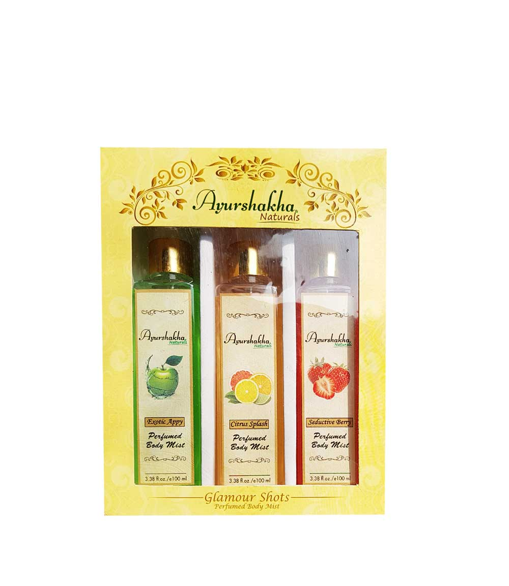 cea9e781770 Ayurshakha Naturals Perfumed Body Mist Citrus Splash + Exotic Appy +  Seductive Berry
