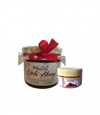 Farm Naturelle Pure Raw Natural Unprocessed Litchi Flowers Honey With Cinnamon Powder