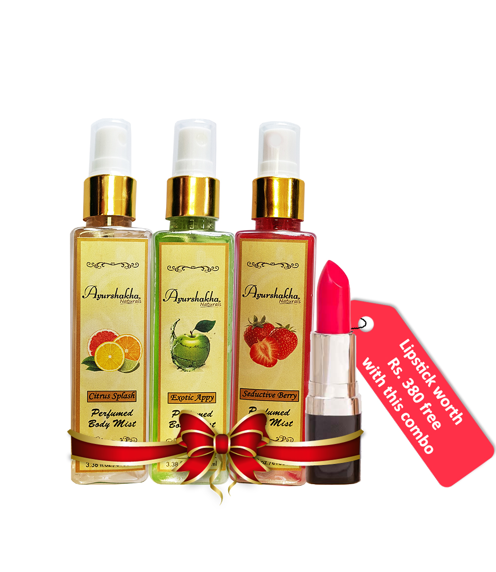 65df9f65dfb Ayurshakha Naturals Perfumed Body Mist Citrus Splash + Exotic Appy +  Seductive Berry+Barva s Lipstick