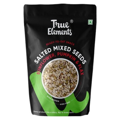 True Elements Salted Roasted Sunflower Pumpkin And Flax Seeds