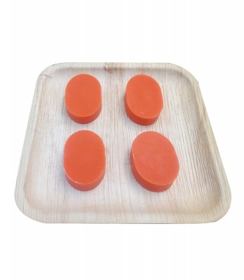 Naturals & consumatic Coconut Oil Handmade Soaps (Orange) Packed with Pala leaves