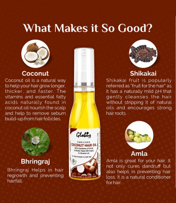 Globus Naturals Enriched Coconut Hair Oil With Goodness Of Amla Shikakai Neem Bhringraj & Sesame oil 100 ml