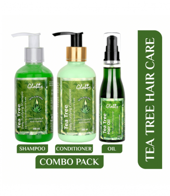 Globus Naturals Tea Tree Hair care combo pack- Tea Tree Hair oil 100ml ,Tea Tree Shampoo 200ml & Tea Tree Conditioner 200ml