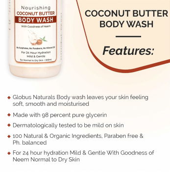 Globus Naturals Combo Pack - Nourishing Coconut Butter Body Lotion 300 ml  & Nourishing Coconut Butter Body wash 300 ml