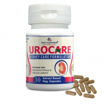 DEEP AYURVEDA | UROCARE | KIDNEY SUPPORT | 30 EXTRACT BASED VEG. CAPSULE | PACK OF 1