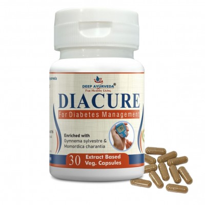 DEEP AYURVEDA | DIACURE | DIABETES SUPPORT | 240 EXTRACT BASED VEG. CAPSULE | BLISTER PACK OF 1