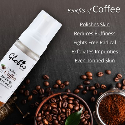 Globus Naturals Purifying Coffee Foaming Face wash 150 ml |Enriched with Sugarcane & Salix Caprea |Deep Cleanse Formula |100% Natural | Paraben Free | SLS Free | All Skin Types