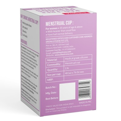 Sirona Reusable Menstrual Cup with FDA Compliant Medical Grade Silicone - Large