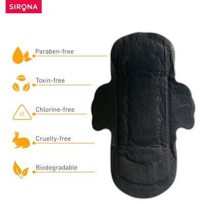 Sirona Biodegradable Super Soft Black Sanitary Pads/Napkins, Antibacterial, Ultra Thin and Rash Free Protection - Small (S) Day Pads (Pack of 10)