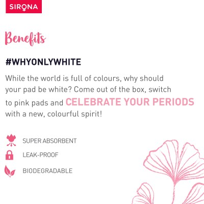 Sirona Natural Biodegradable Super Soft Pink Sanitary Pads/Napkins - 10 Pieces, Large (L)