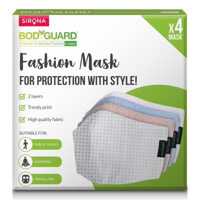 BodyGuard Fashion Mask with 2 Layers Protection, For Outdoor and Indoor - Large (Pack of 4)