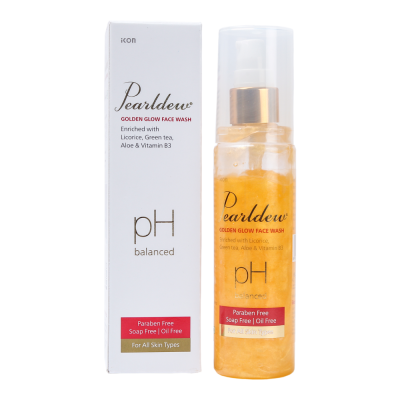 IKON Pearldew Golden Glow Face Wash | Reveal the bright skin instantly | Enriched with Licorice, Green tea, AHA, Aloe & Vitamin B3