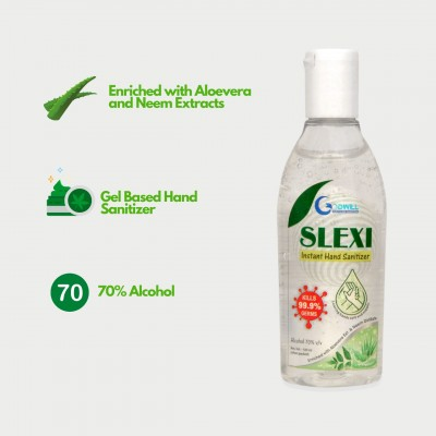 Sneh Slexi Herbal Hand Sanitizer| 70% Alcohol Based Hand Sanitizer |Kills 99.9% Germs | Gel Based with Neem And Aloevera Extract -Pack of 2(500 ML Each)